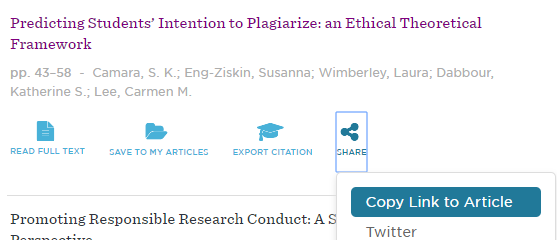 to share an article with a persistent link, select share, and then select Copy Link to Article.