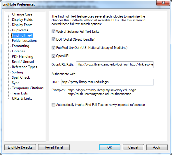 EndNote Find Full Text preferences screen showing library-related URLs
