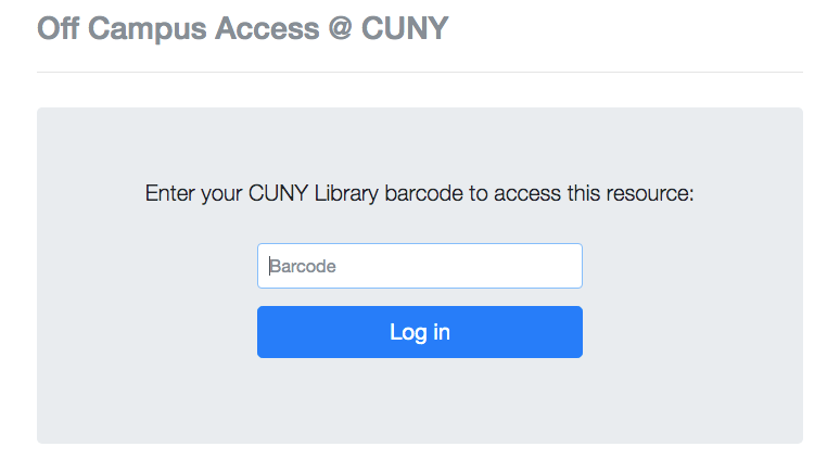 Barcode Login for CUNY Databases & More