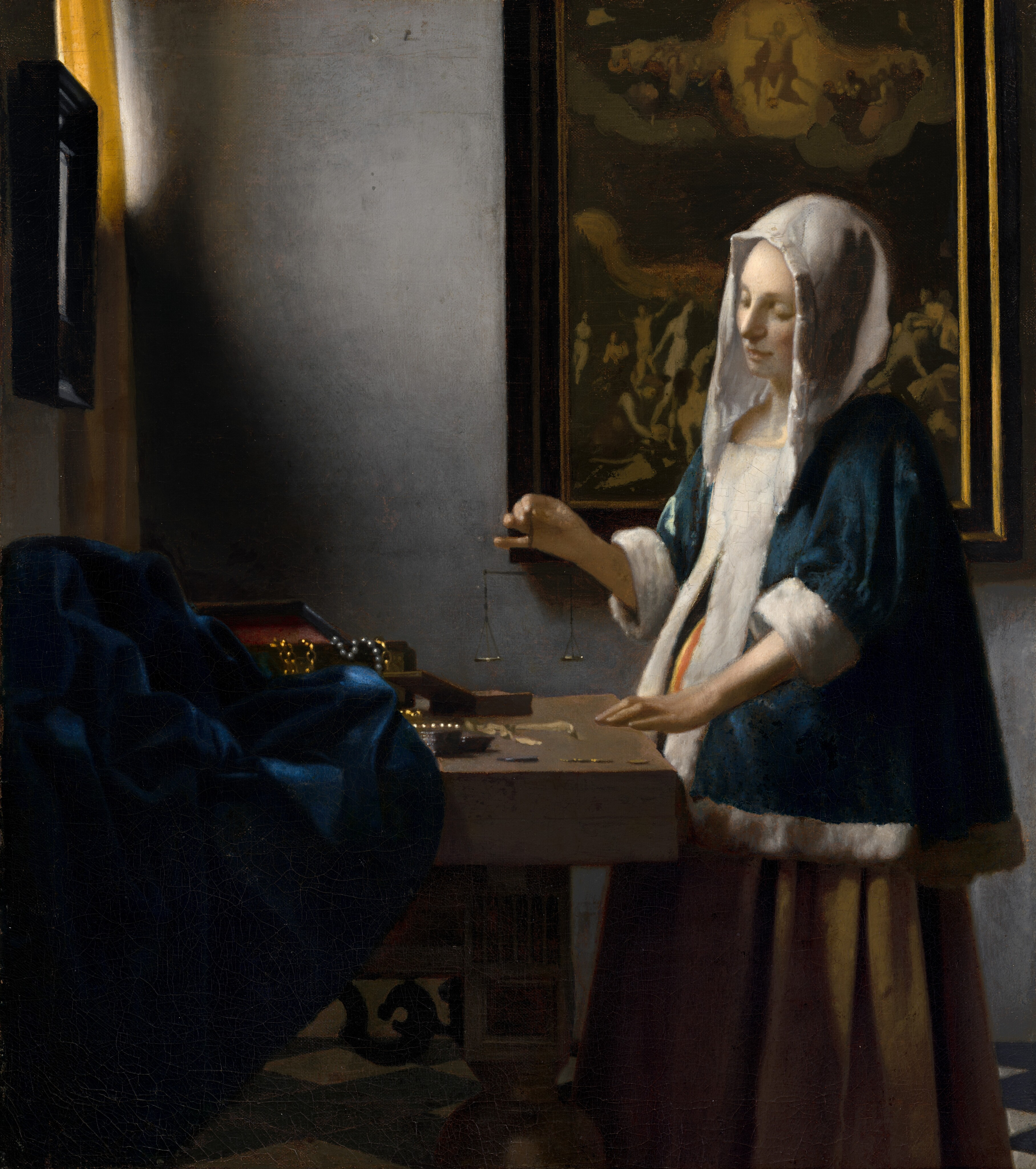 Painting by Johannes Vermeer: Woman Holding a Balance