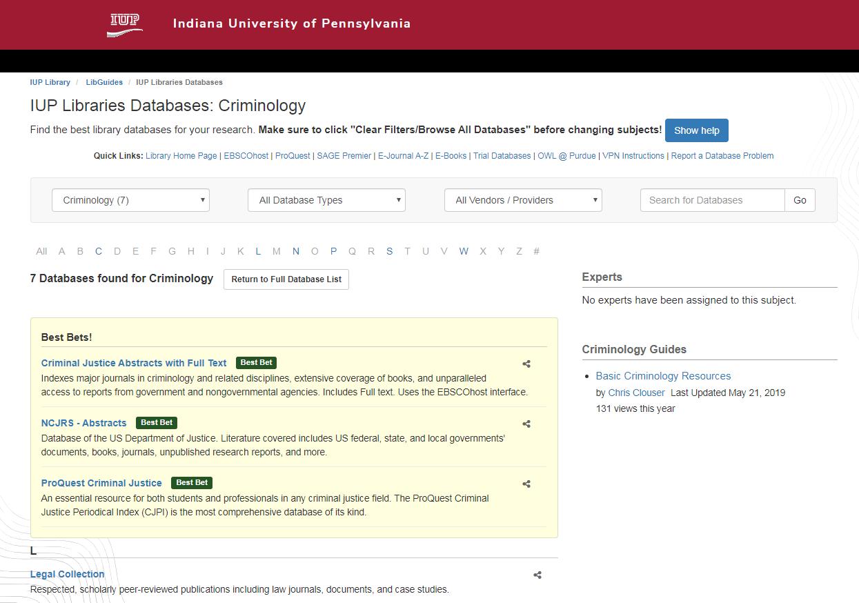 List of Criminology databases