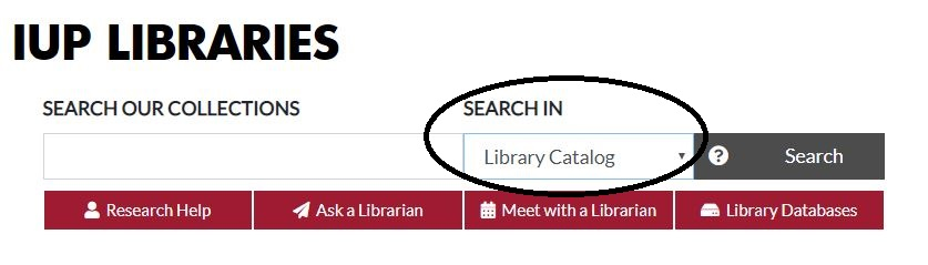 Screenshot of Library Catalog Search box
