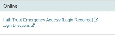 Image of HathiTrust Emaregency Access link