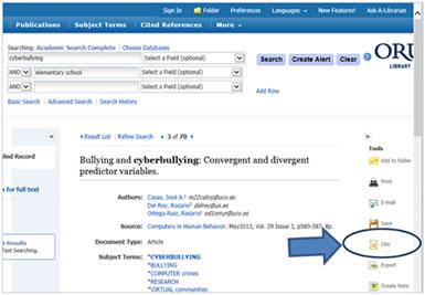 Ebsco cite tool