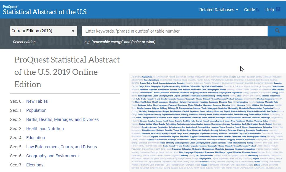 Statistical Abstract 2019 Online Edition