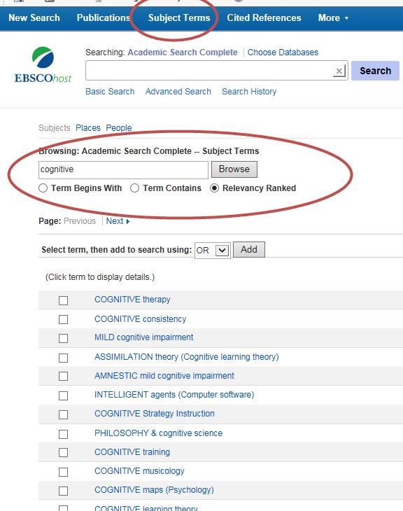 EBSCO Subject Terms
