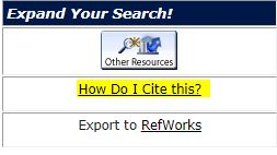 How Do I Cite This? Link in Library Catalog