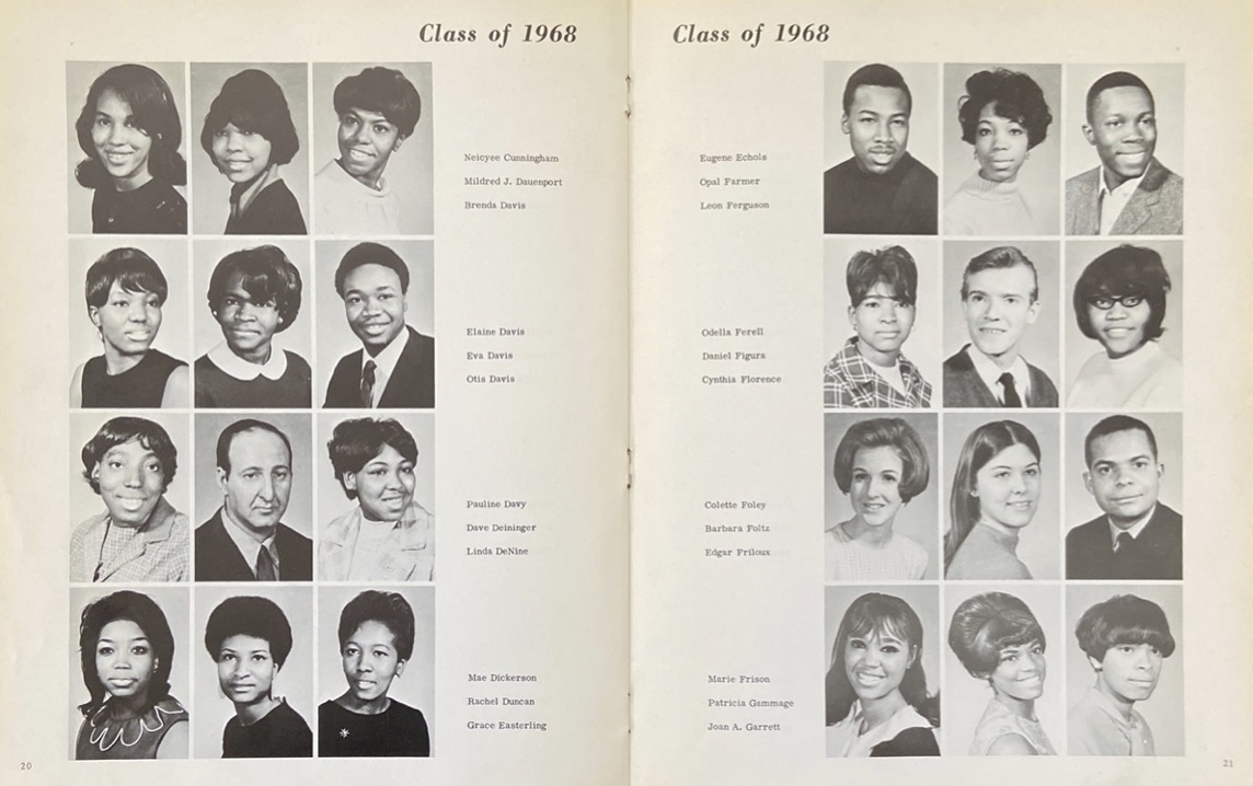 Student photos from 1968 Loop College yearbook.