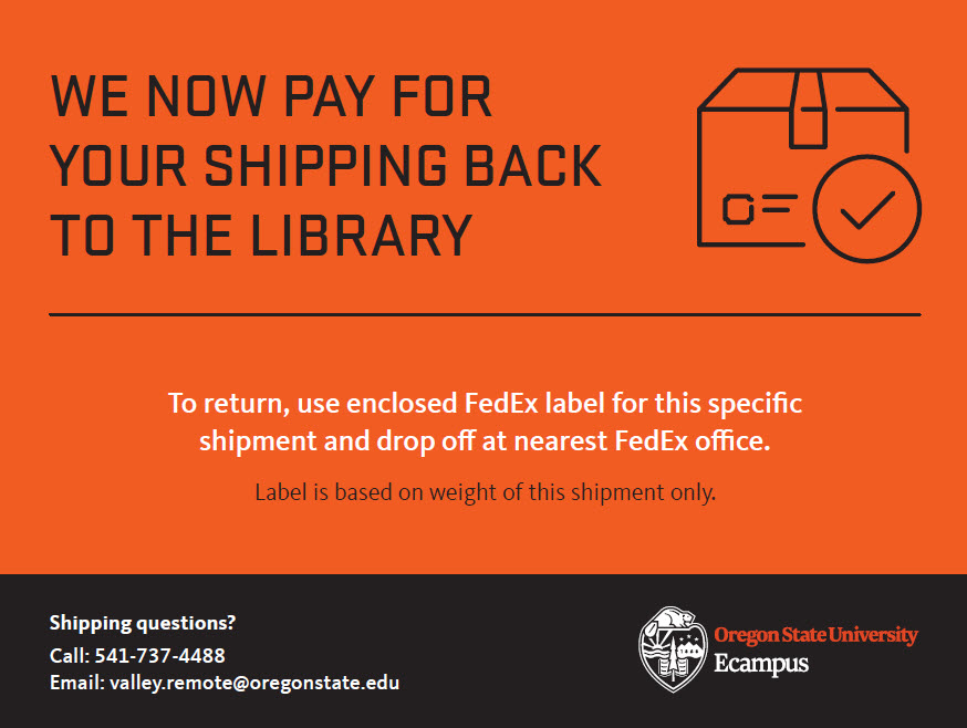 We now pay for your shipping back to the library