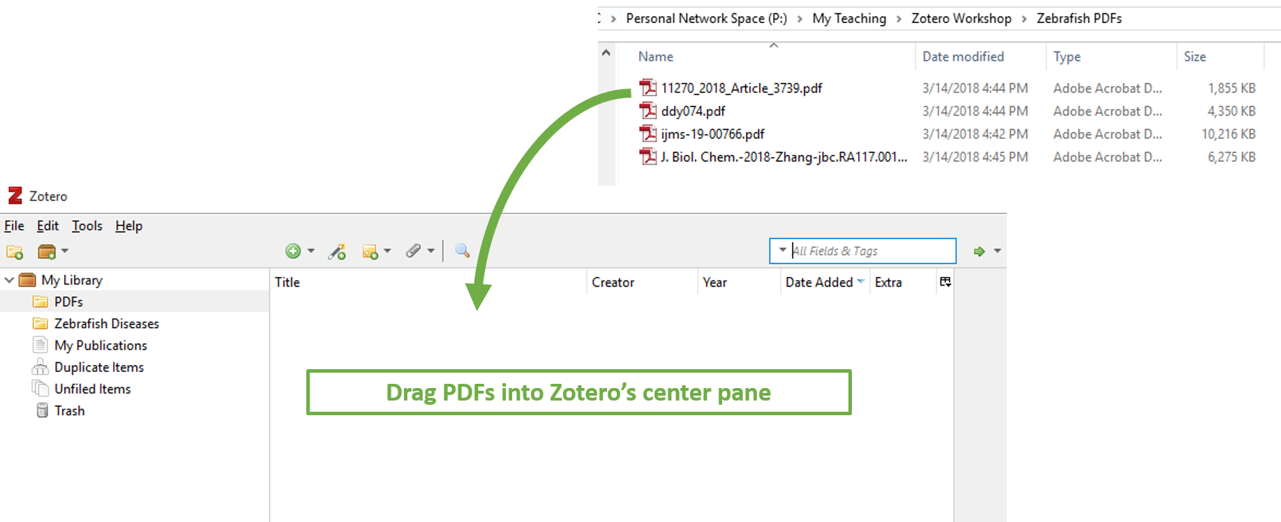 Drag PDFs to Zotero center pane