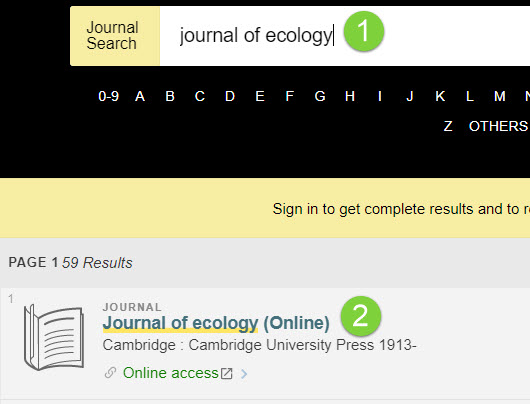 screenshot of 1Search journal search example