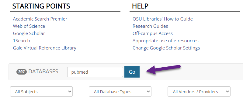 Search for PubMed on the OSU Libraries Databases page