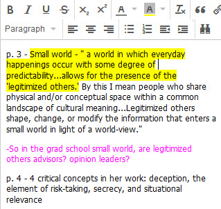 Example of using rich text tools in Zotero's notes