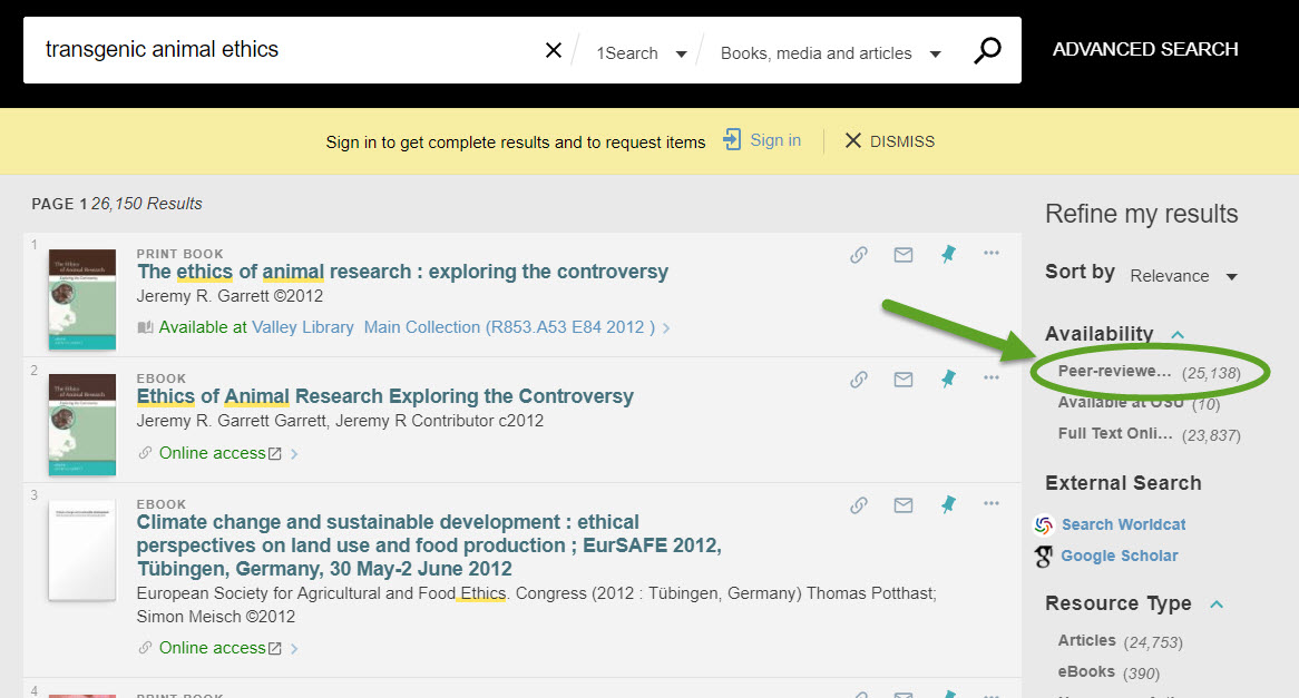 screenshot of 1Search peer-reviewed article search