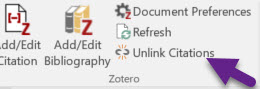 Unlink citations option in the Zotero word processing toolbar