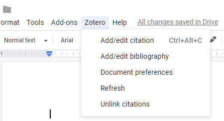 Zotero editing tools in a Google Docs menu