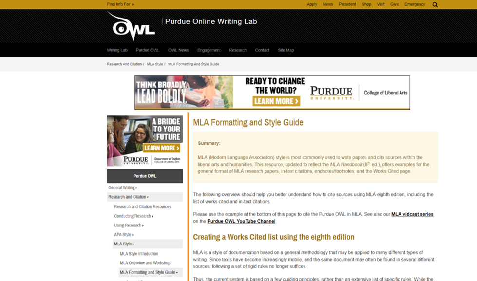 Link to Purdue OWL MLA Style Guide