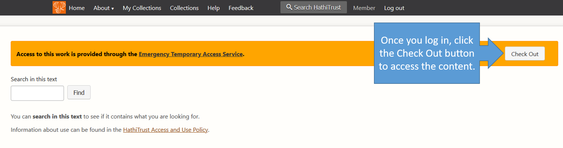 Image of HathiTrust Check Out Screen