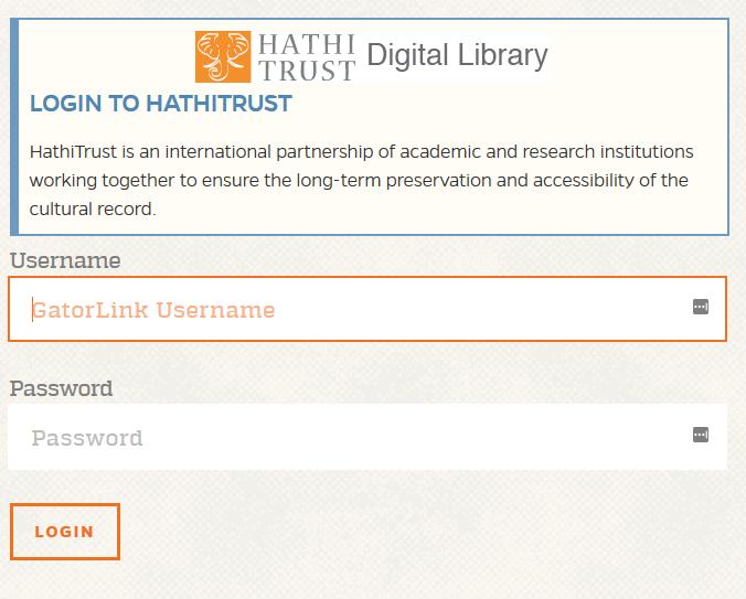 image of the HathiTrust Gatorlink login page