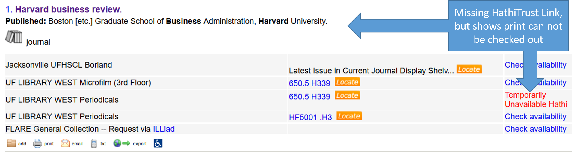 image of journal result in UF catalog, missing hathi link, but holdings indicate available via HathiTrust