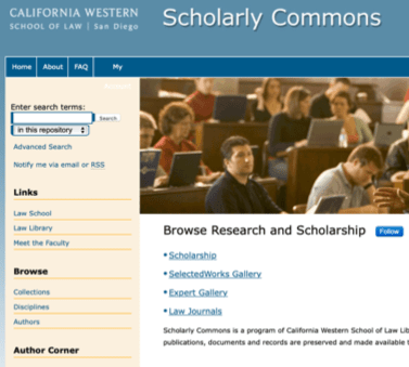home page of the scholarly commons