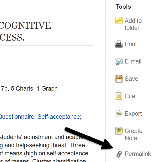 EBSCO permalink on right under tools