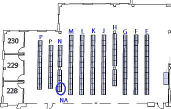 Library Map, shelves are labeled alphabetically and NA is circled