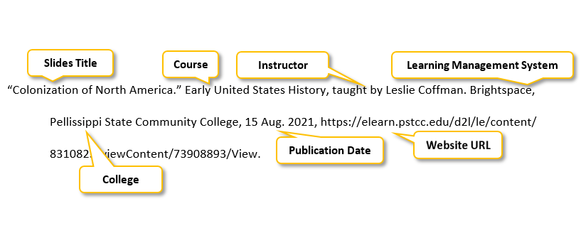 Quotation mark Colonization of North America period Quotation mark Early United States History comma taught by Leslie Coffman period Brightspace comma Pellissippi State Community College comma 15 Aug period 2021 comma https://elearn.pstcc.edu/d2l/le/content/ 8310823/viewContent/73908893/View period