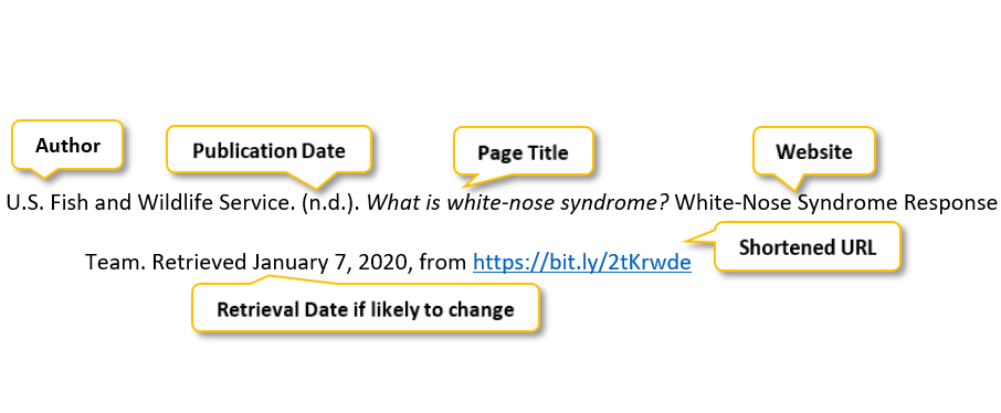 U period S period Fish and Wildlife Service period parenthesis n period d period parenthesis period What is white-nose syndrome question mark White-Nose Syndrome Response Team period Retrieved January 7 comma 2020 comma from https://bit.ly/2tKrwde