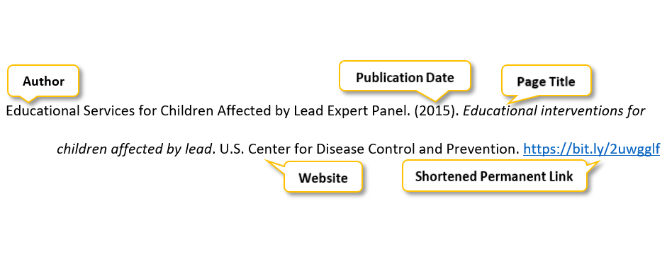 Educational Services for Children Affected by Lead Expert Panel period parenthesis 2015 parenthesis period Educational interventions for children affected by lead period U period S period Center for Disease Control and Prevention period https://bit.ly/2uwgglf