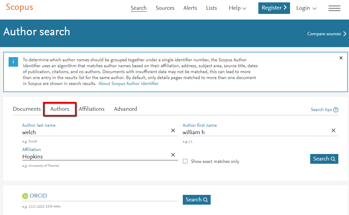 Scopus Author search page