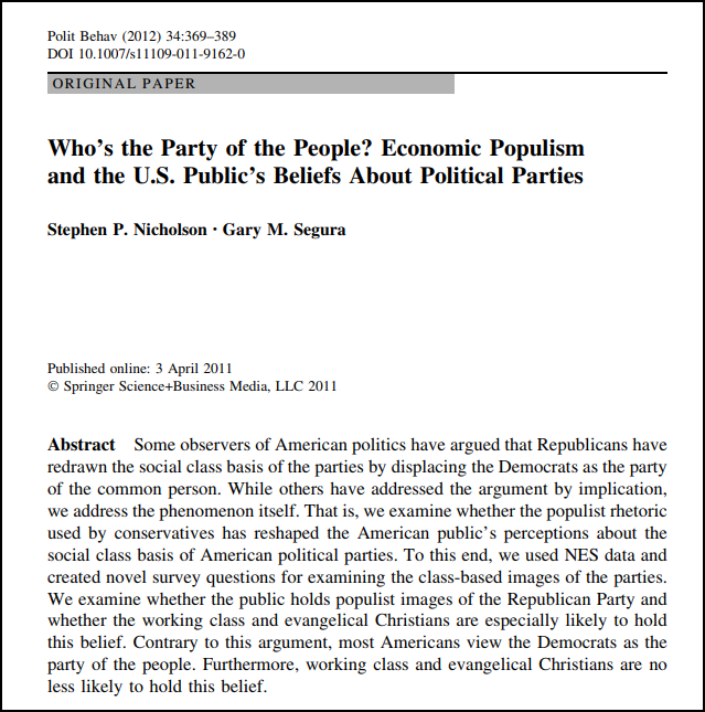 screenshot of the article title page Who's the party of the People?