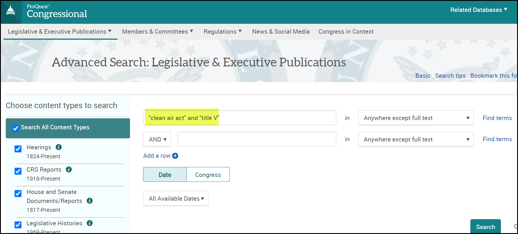 Congressional Publications Clean Air Act Title V Search