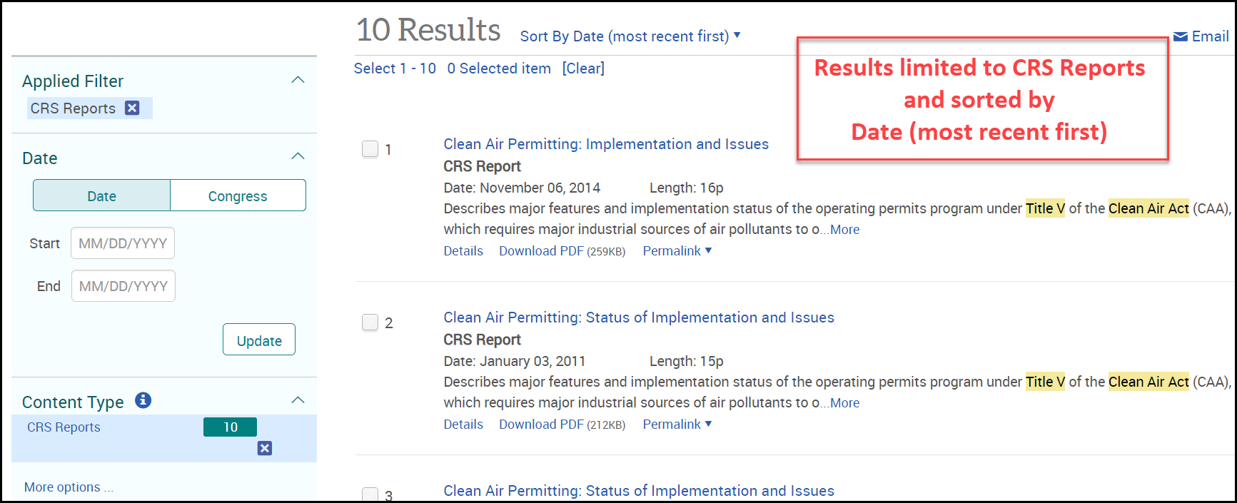 Congressional Publications Clean Air Act Title V Results