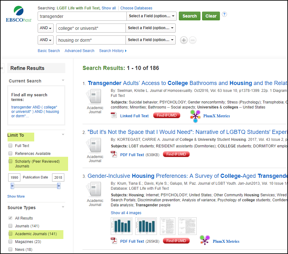 Screenshot of the search results in the Ebscohost databases and limiting to scholarly journals