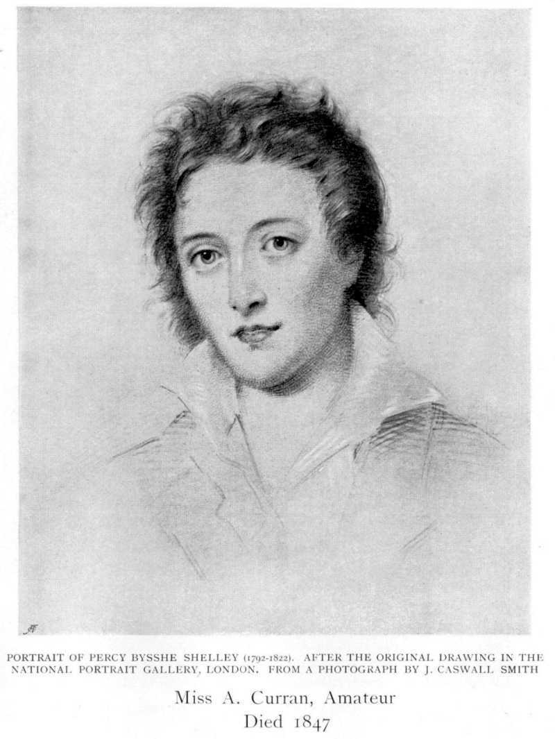 1905 print of Percy Bysshe Shelley after page of Women painters of the world, from the time of Caterina Vigri, 1413-1463, to Rosa Bonheur and the present day, by Walter Shaw Sparrow, The Art and Life Library, Hodder & Stoughton, 27 Paternoster Row, London