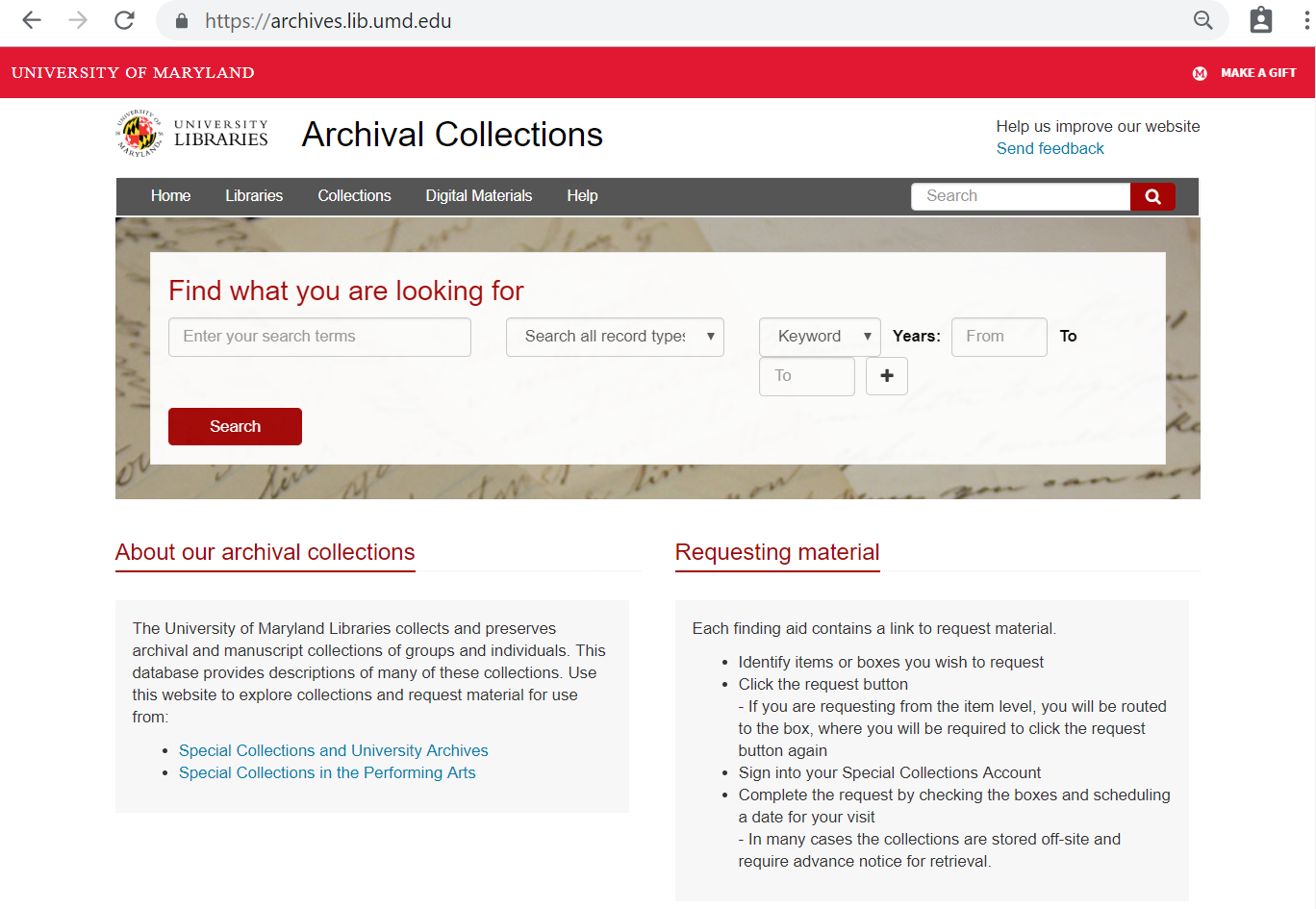 Archival Collections home page