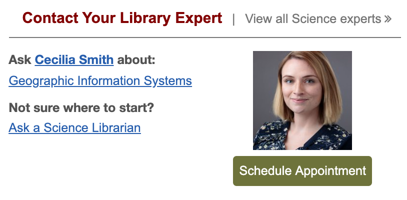 Contact Your Library Expert on the Library's website.