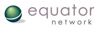 Logo of the Equator network displaying a green ball with its shadow