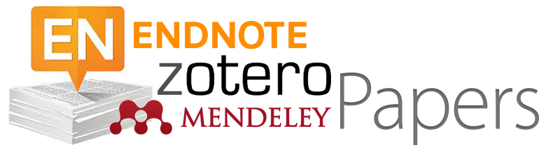 Logos of Endnote, Zotero, Mendeley and Papers