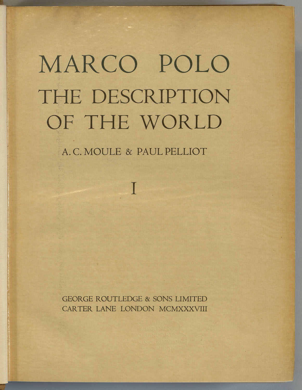 Title page of The Description of the World