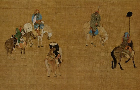 Detail of riders depicted in Kublai Khan Hunting