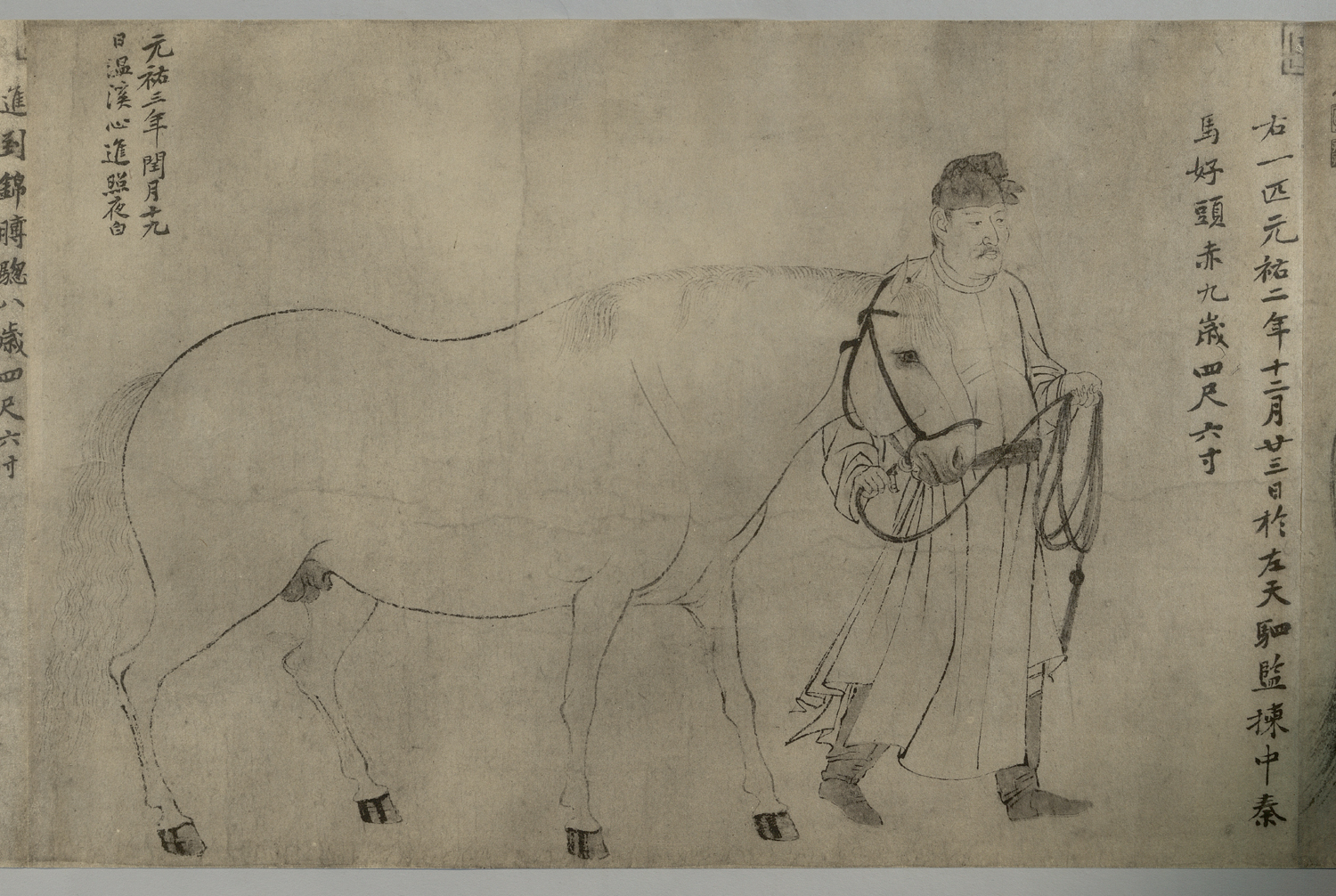 Detail of third groom and horse from Wuma Tu李公麟五馬圖, Li Gonglin, 1927.