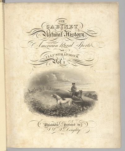 Thomas Doughty Cabinet of Natural History Volume 1 title page