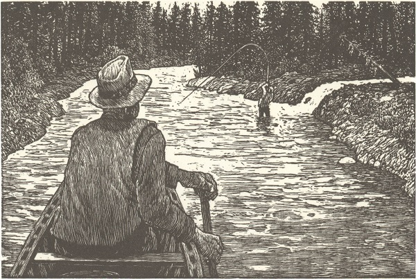 Illustration of fisherman in boat from The Intruder