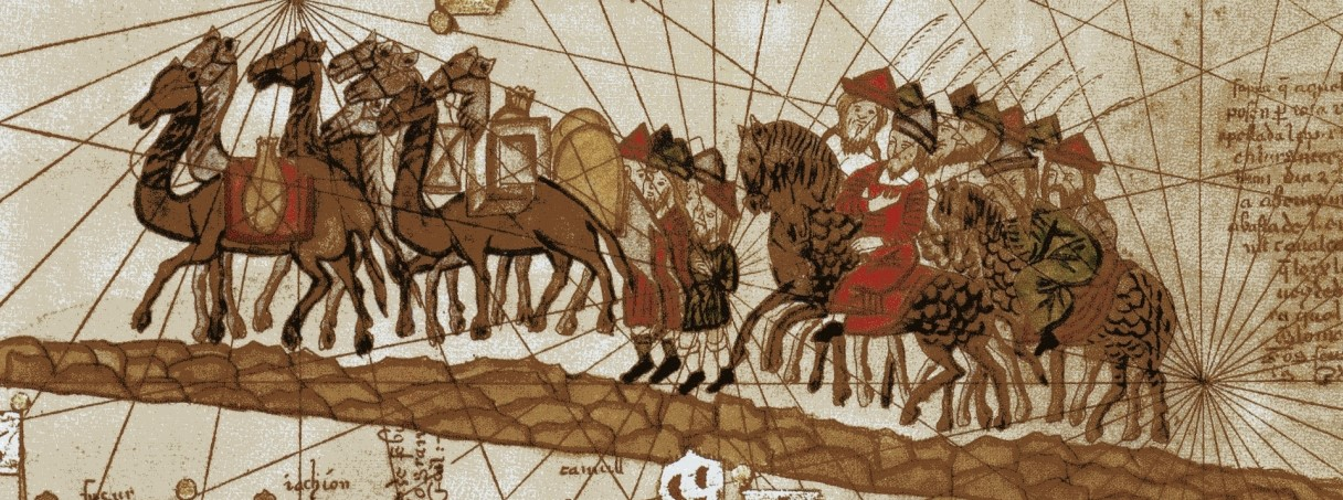 Detail of Marco Polo traveling east in the Catalan Atlas
