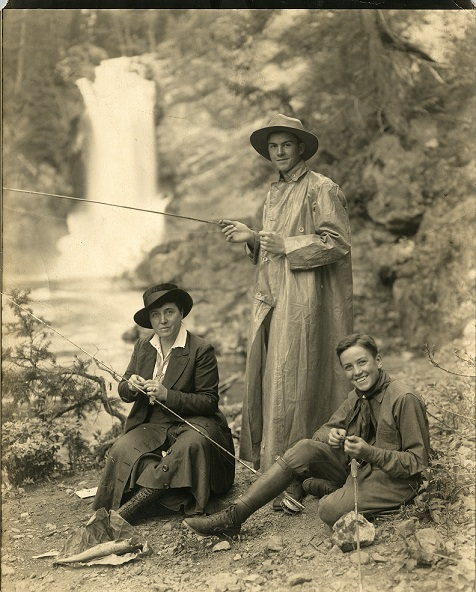Rinehart and sons prepare to fish at Stehekin waterfall