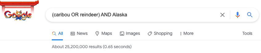 Screenshot of Google search for the terms (caribou OR reindeer) AND Alaska