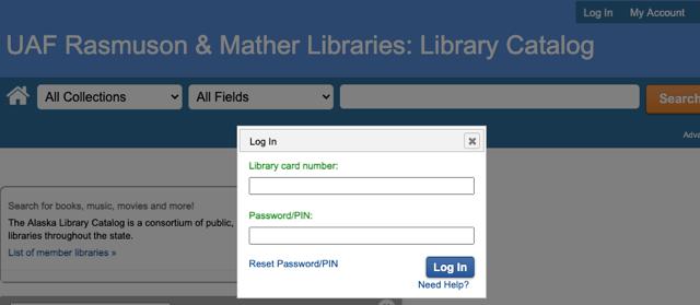 Screenshot of the library catalog login