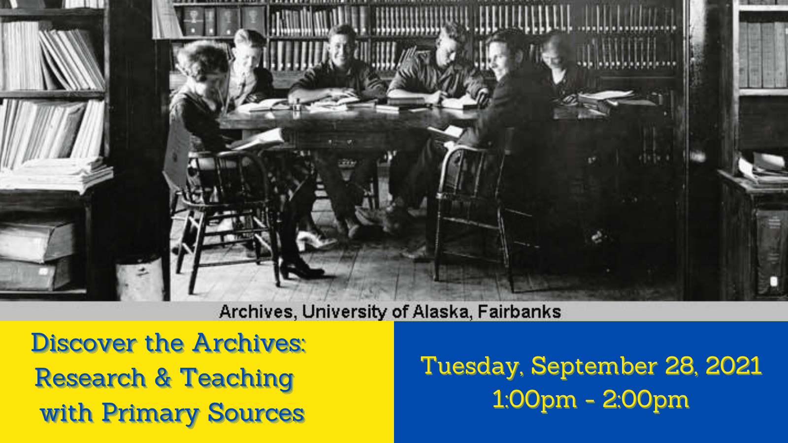 Discover the Archives Workshop on Sept. 28th at 1:00pm